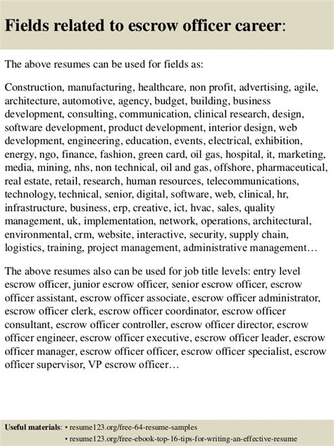 Escrow Officer Resume Objective by Top 8 Escrow Officer Resume Sles