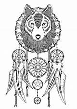Catcher Dream Dreamcatcher Coloring Adult Tattoo Wolves Wolf Catchers Printable Adults Mandala Native Colouring Tattoos Sketch Pattern Spirit Drawing Ribs sketch template