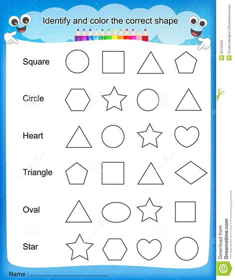 preschool color worksheets education printable shapes