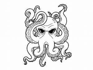 Cartoon Black Eyes Octopus Tattoo - Tattoo Design Ideas