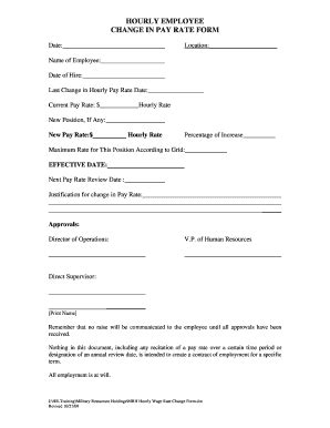 fillable employee pay increase form  budget