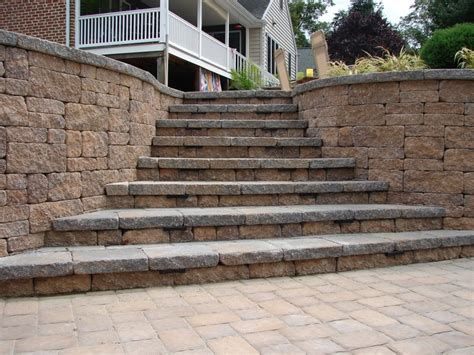 paver patio walls and steps my husband made this