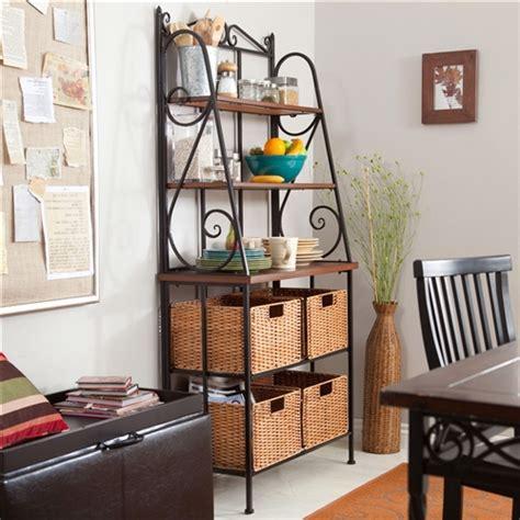 durable metal  wood bakers rack  classic wicker basket storage fastfurnishingscom