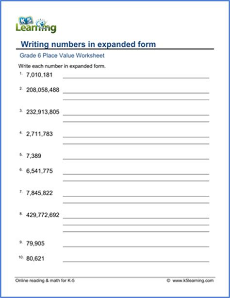 grade 6 math worksheet place value writing numbers in expanded form k5 learning