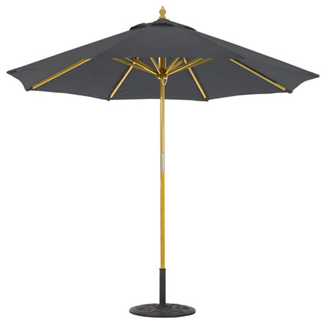9 wooden patio umbrella with 2 pulley lift transitional