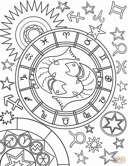 Zodiac Coloring Pisces Sign Pages Signs Printable