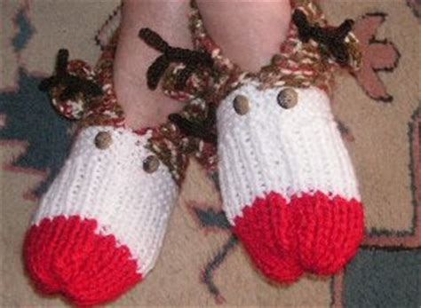 christmas knitted cozy cozy rudolph slippers favecrafts