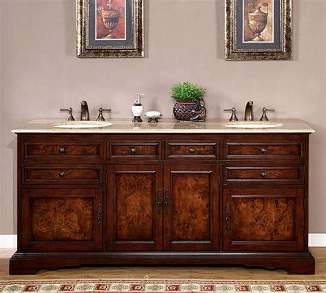 lavatory travertine stone top double sink bath cabinet