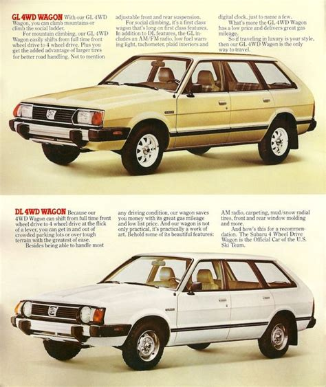 subaru wagon 1980 the 1980 subaru gl and dl 4wd wagons in those golden