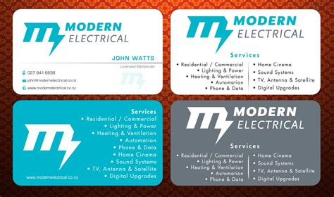 Modern, Bold, Electrician Business Card Design For Modern Colored Business Card Stock Paper Visiting Size In Illustrator Cc Template Cdr Standard Of Sample Hr Image Best Scanner Android App Samples For Musicians