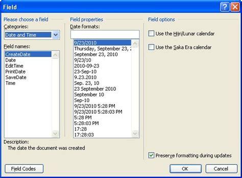 inserting  date  document   saved microsoft
