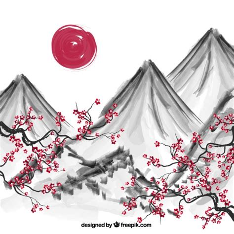 Blue Cherry Blossom Wallpaper Hand Painted Japanese Background Vector Free Download