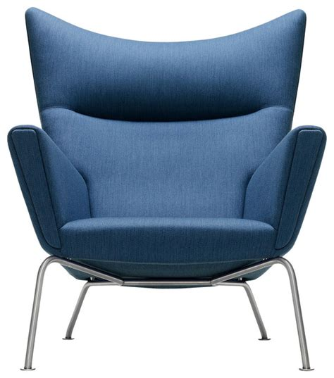wegner wing chair blue contemporary armchairs and
