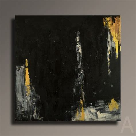 Abstract Black Gold Painting by Large Abstract Painting Black Gold Gray Set Of Two
