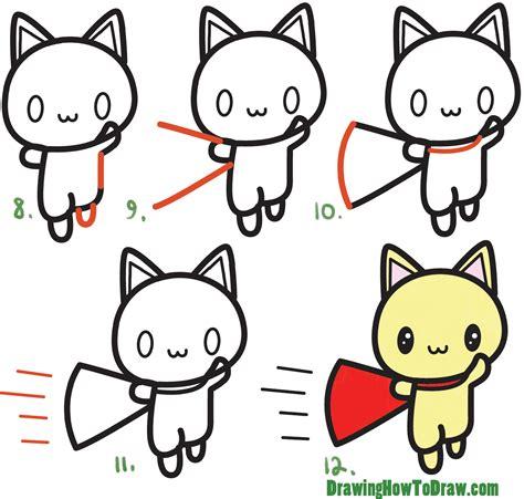 draw  cute cat super hero kawaii  easy step