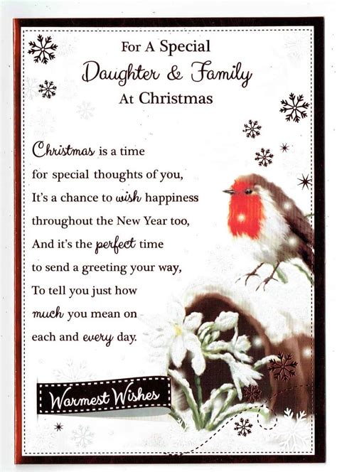 Our suggestions for what to write in a christmas card can be applied to family, friends, your boss, teacher, and significant other. Daughter & Family Christmas Card With Robin And Sentiment Verse Design - With Love Gifts & Cards