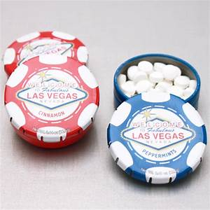 las vegas poker chip mint tins personalized las vegas With las vegas wedding party favors