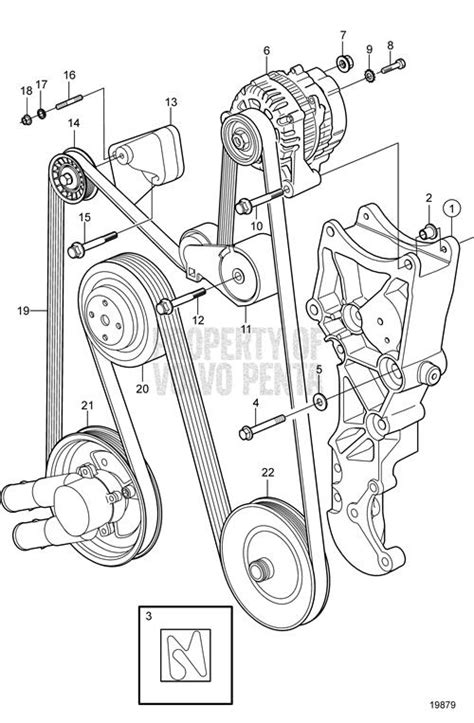 volvo penta exploded view schematic serpentine belt