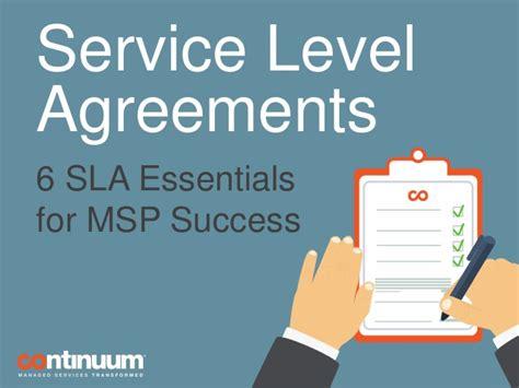 service level agreements  sla essentials  msp success