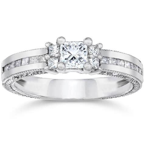 1ct vintage heirloom princess cut ring 14k white gold ebay