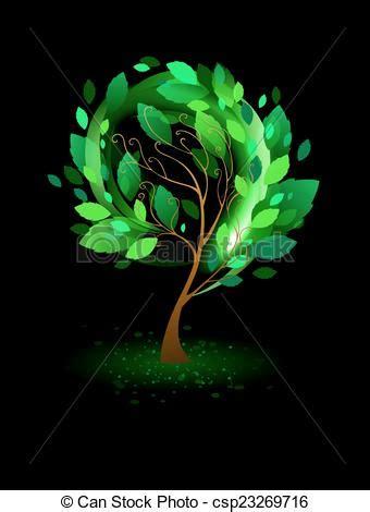 green tree   black background tree  green leaves