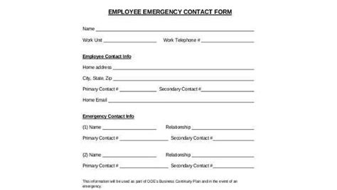 employee emergency contact form sles 8 free