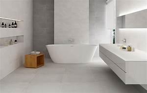 carrelage de salle de bain gris et blanche aspect beton With faience salle de bain blanche