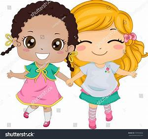 Best Friends Illustration Featuring Two Girls Stock Vector ...