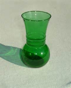 antique small green depression glass vase by harmoneescreations