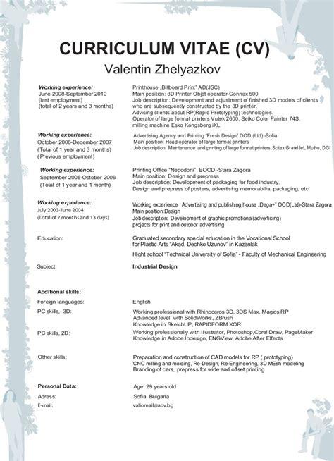 Curriculum Vitae Exle For by Curriculum Vitae And Portfolio