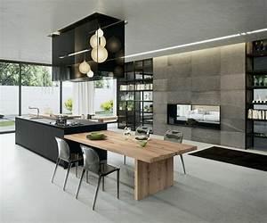 La cuisine equipee avec ilot central 66 idees en photos for Idee deco cuisine avec cuisine tout Équipée avec Électroménager
