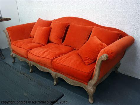canapé pompadour canapé velours orange brûlé pompadour 3 places hanjel