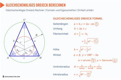 gleichschenkliges dreieck formel flaeche umfang hoehe