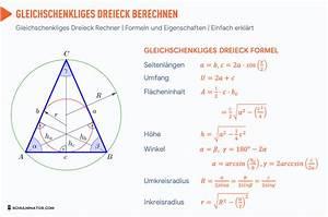 Wie Berechnet Man Die Höhe Eines Dreiecks : gleichschenkliges dreieck formel fl che umfang h he mathe mathematik und mathe spr che ~ A.2002-acura-tl-radio.info Haus und Dekorationen