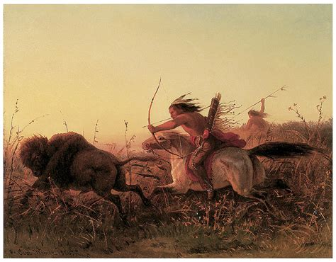 Indian Buffalo Hunt Painting By Charles Wimar