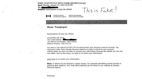 email tax scam claims  send refund  cra windsor