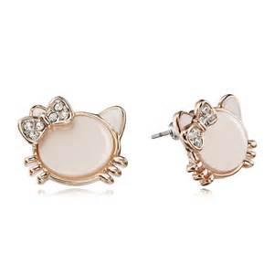top earings cat stud earrings rhinestone bow cat gold gold
