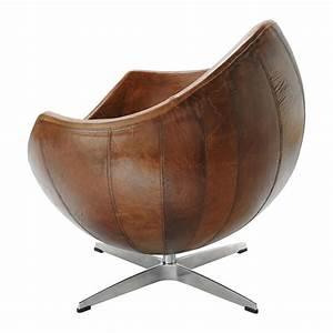 Fauteuil Cuir Marron Vintage : fauteuil vintage cuir marron guariche home run maisons du monde ~ Teatrodelosmanantiales.com Idées de Décoration