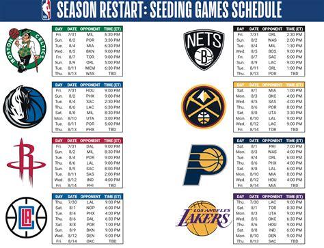 NBA season restart 2020: Schedule for 8-game seeding round ...