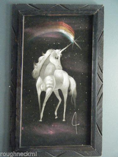 vintage  black velvet painting unicorn pegasus