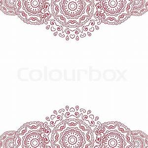 Abstract background, frame - red mandala Doodle style