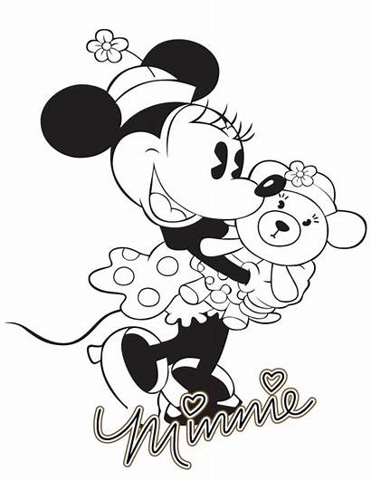 Minnie Mouse Coloring Pages Mickey Bear Teddy