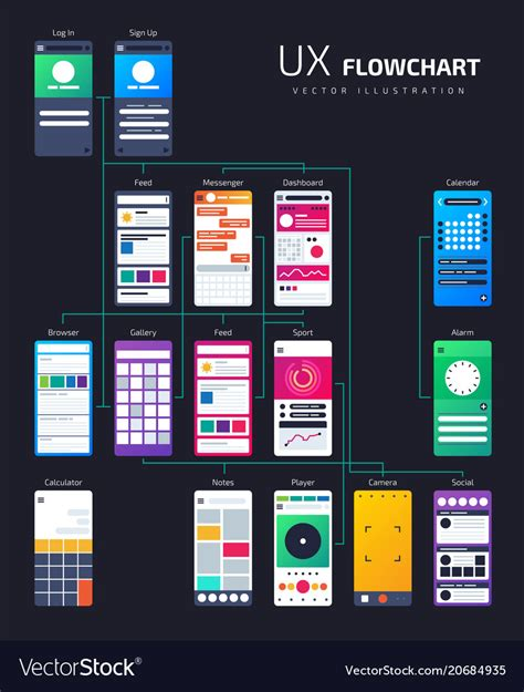 Structure App Flowchart Site Map Royalty Free Vector