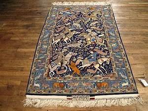Wool And Silk Rugs Persian Isfahan Rug 3'7'' X 5'5