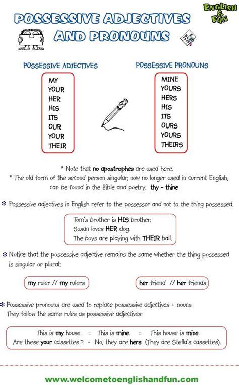 free esl possessives pronouns worksheets articles