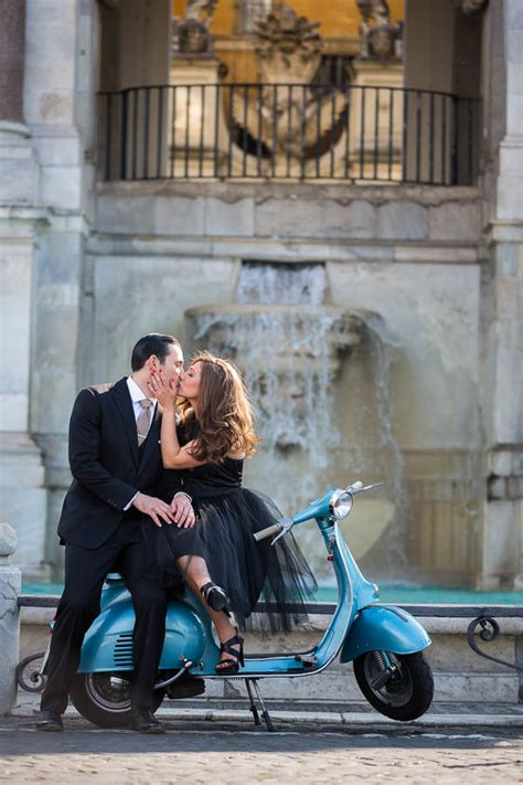 vespa engagement photo session  rome italy photoshoot