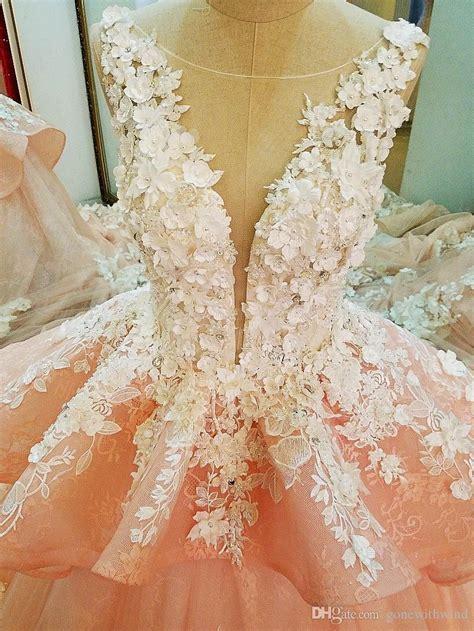 blush royal train arab dubai wedding dresses  lace