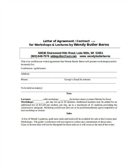 sample agreement letters word