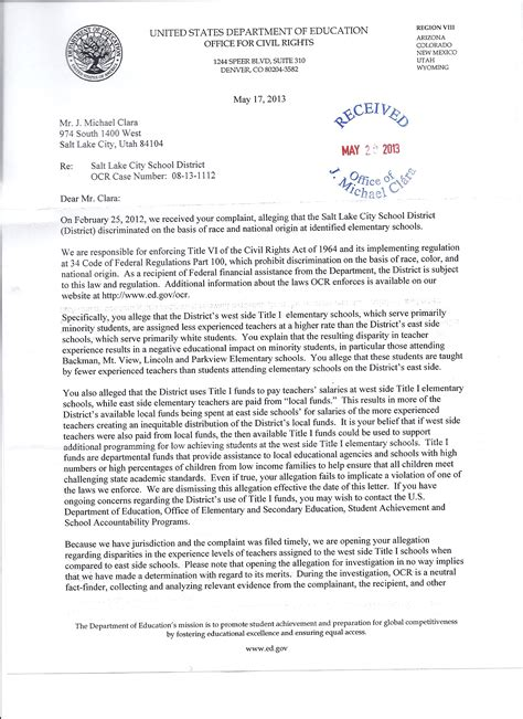office  civil rights accepts complaint letter local
