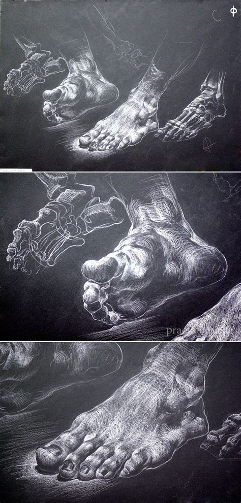 foot drawing  chalk  black paper drawnings